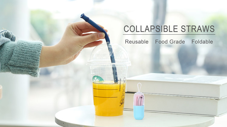 Collapsible Straw, Foldabel Reusable Silicone Drinking Straw Big Size