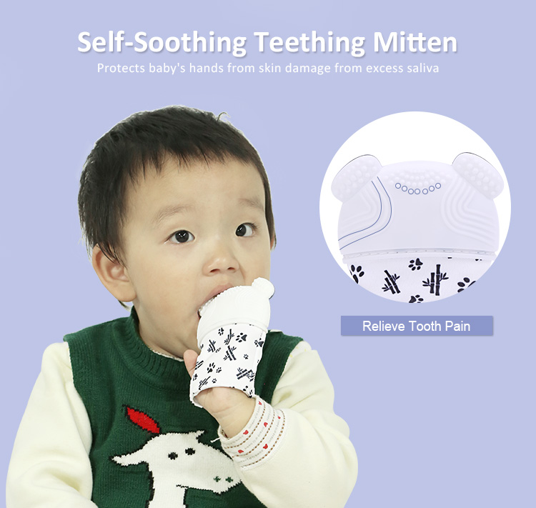 Soothing Baby Teething Mitten, Panda Silicone Teething Glove Wholesale