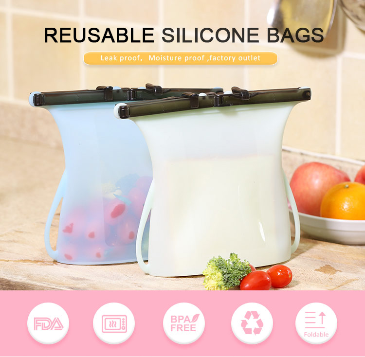 Reusable Silicone Food Bags, Ziplock Reusable Snack And Sandwich Storage Bags