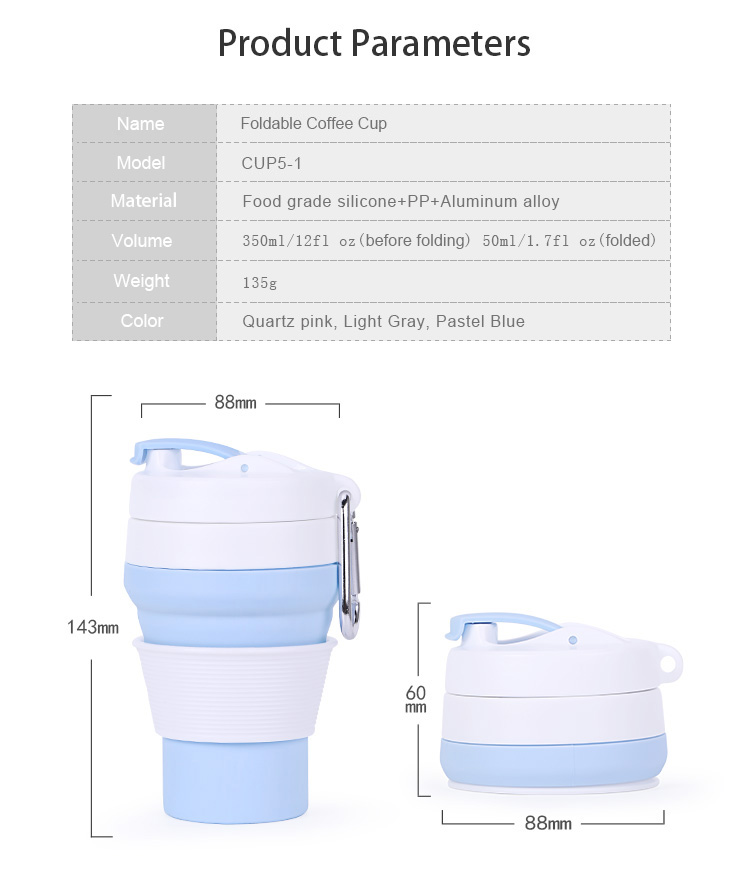 Leak-proof collapsible travel mug