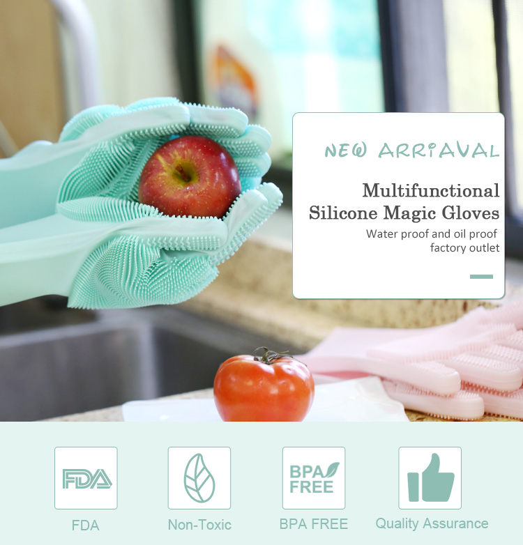 Silicone Dishwashing Gloves with Scrubber, Best Cleaning Gloves Wholesale