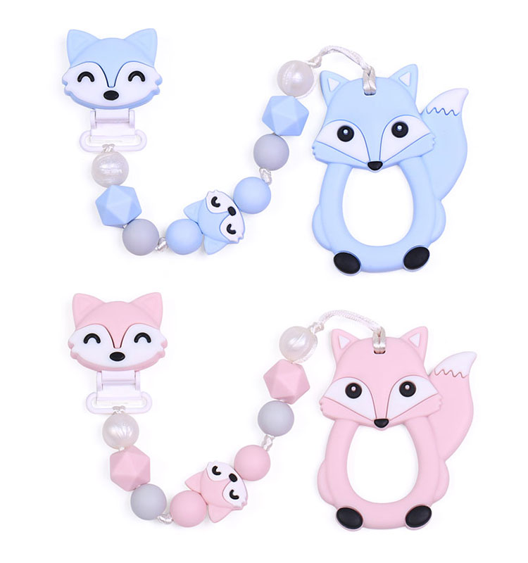 Soothie Pacifier Clip Fox, Silicone Teething Pacifier Clip For Baby