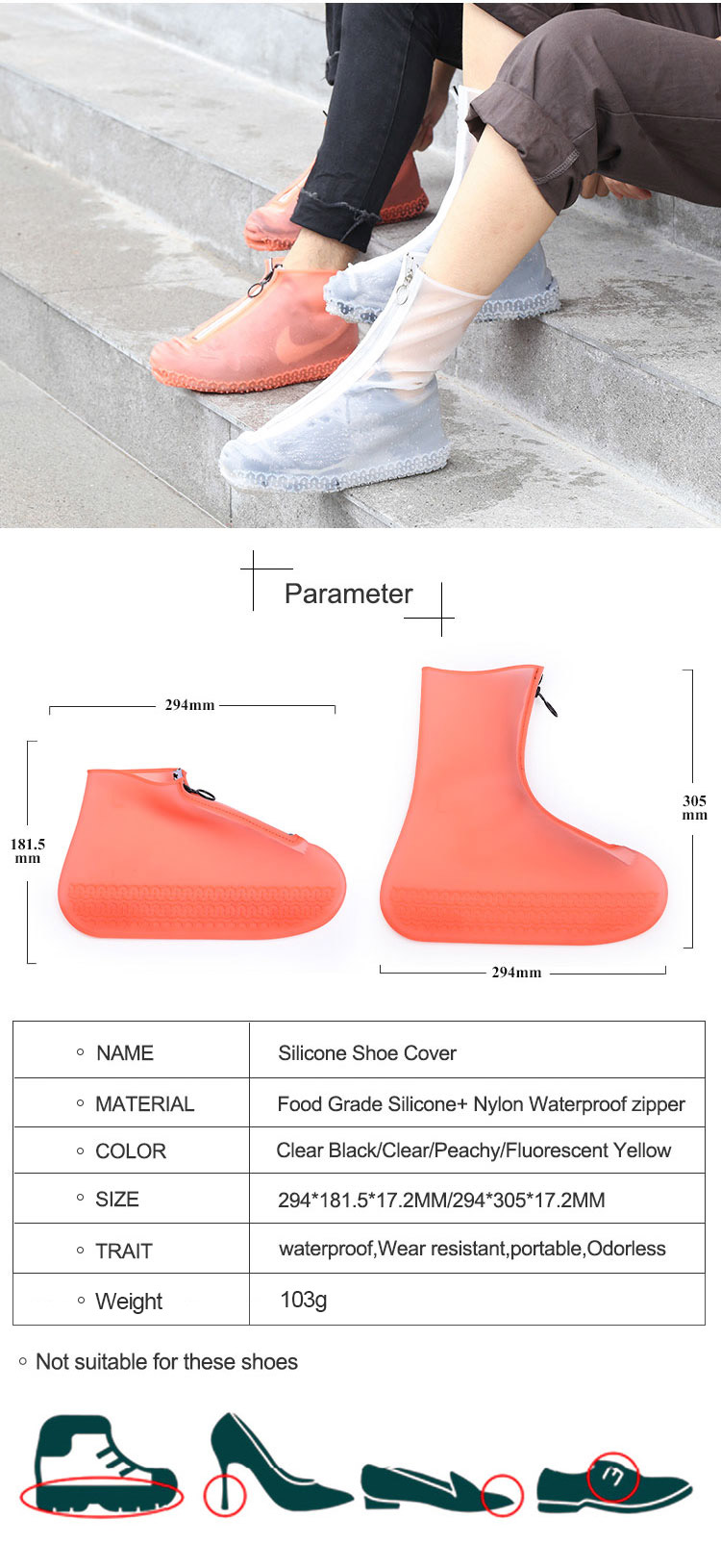 No-slip silicone rubber waterproof rain shoe covers