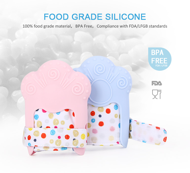 soothing baby teething mitten, food grade silicone, eco friendly, bpa free, compliance with FDA/LFGB standards.