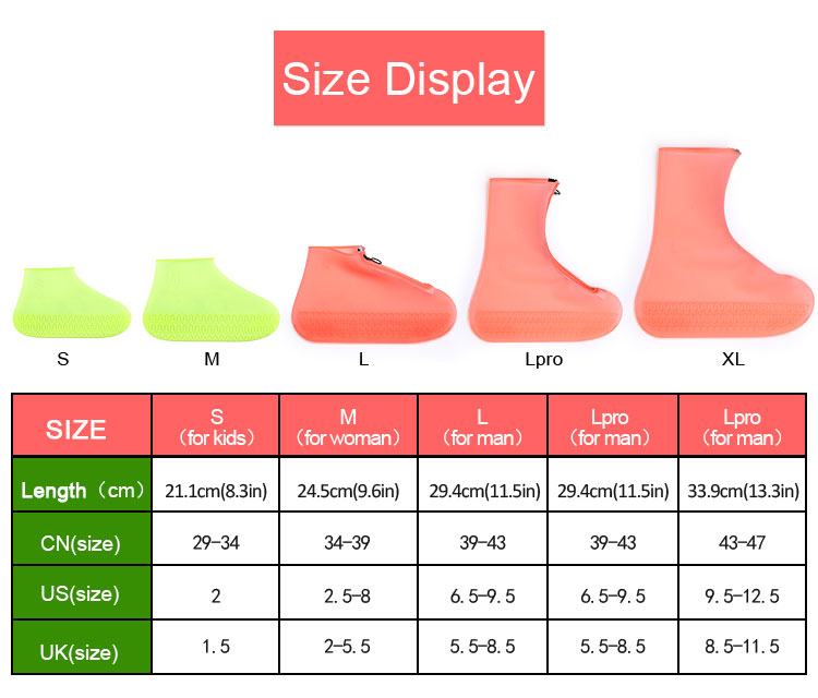Silicone Waterproof Shoe Cover Outdoor Rainproof Hiking Skid Proof Shoe Covers